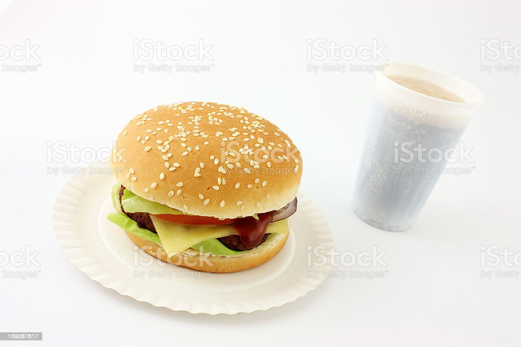 Cheeseburger with Cola royalty-free stock photo