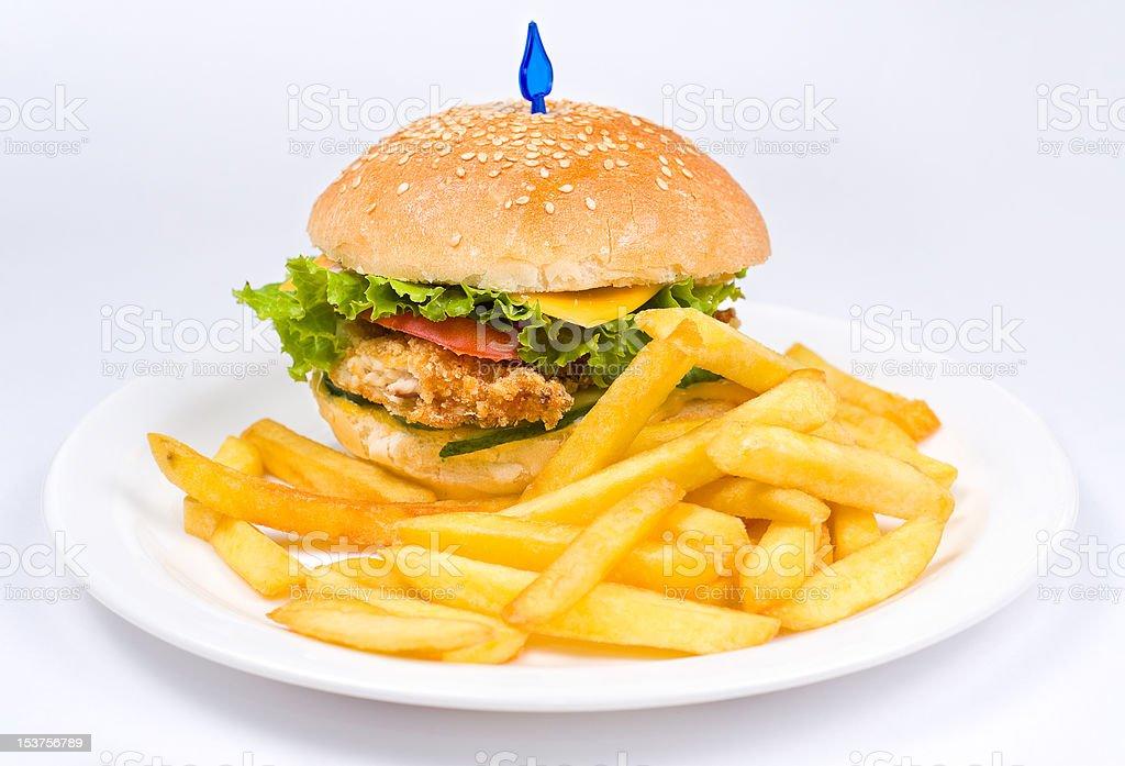 cheeseburger with deep fried potatoes royalty-free stock photo
