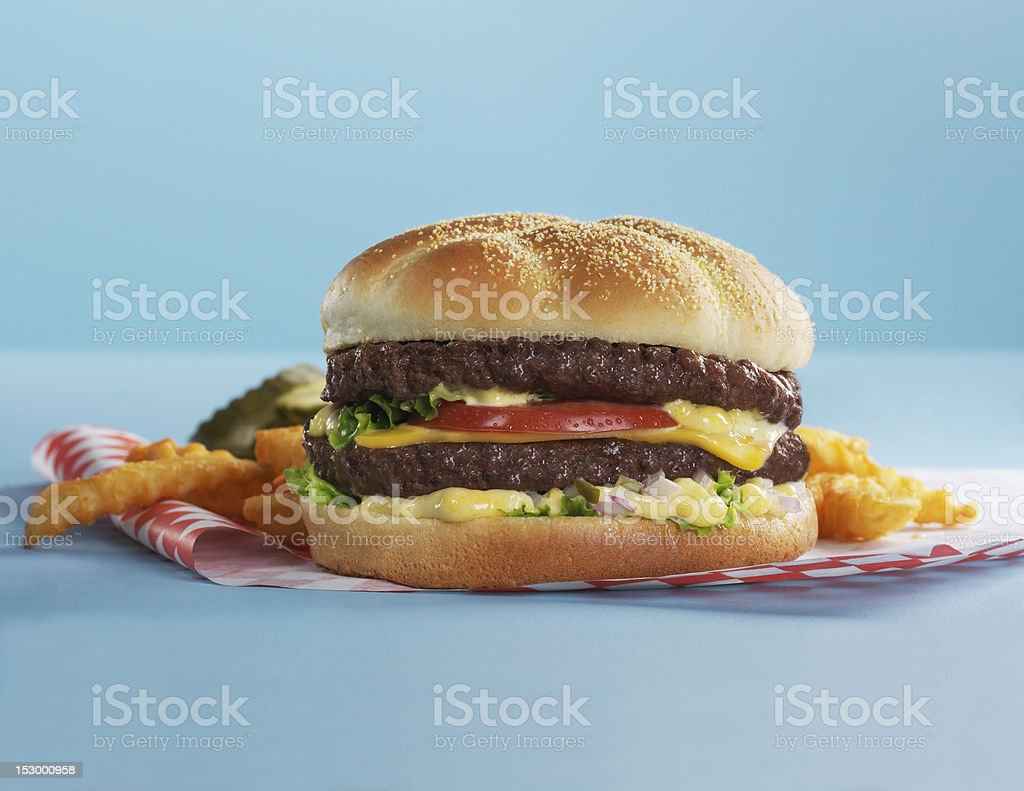 Cheeseburger with French fries stock photo