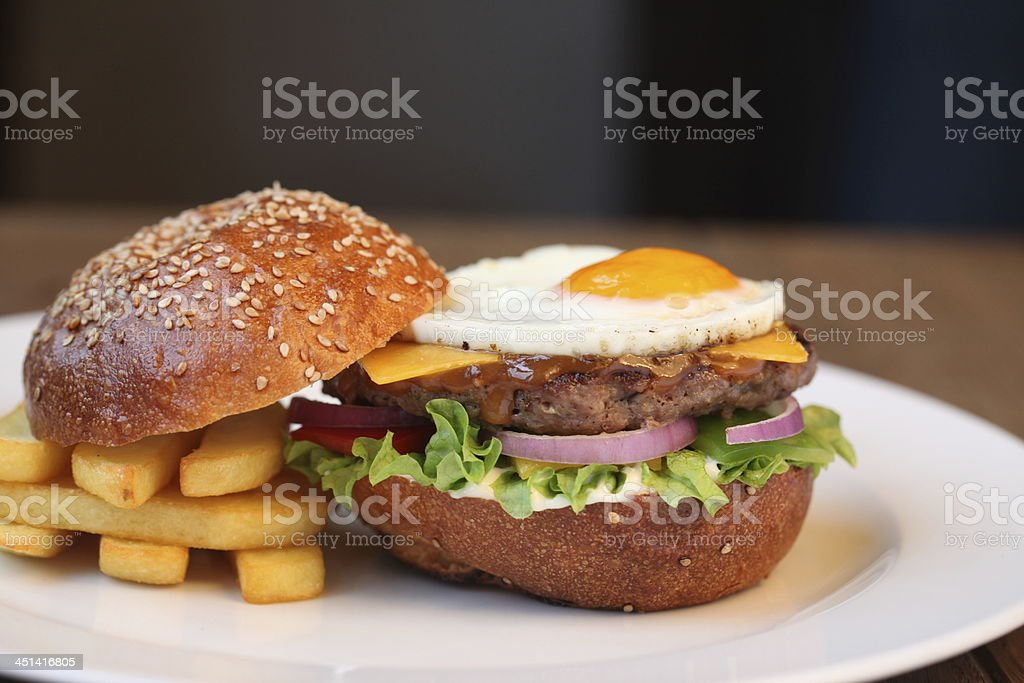 cheeseburger with Fried Egg stock photo