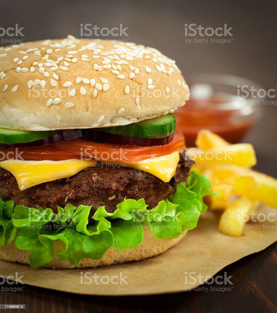 Cheeseburger with Fries royalty-free stock photo