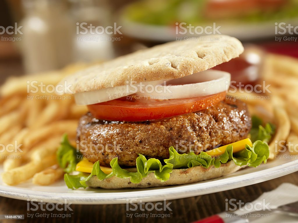 BBQ CheeseBurger with Lettuce and Tomato royalty-free stock photo