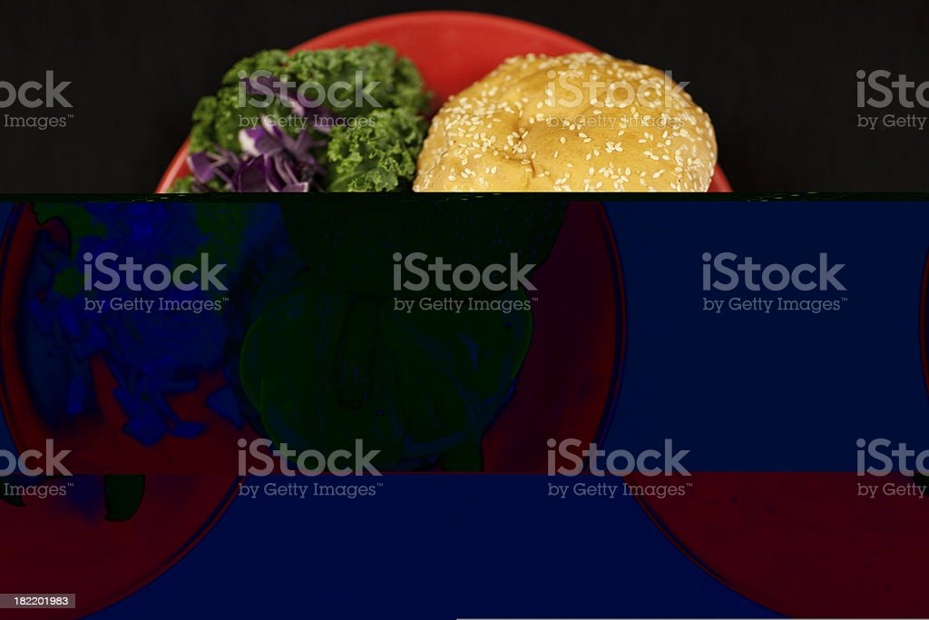 Cheeseburger with Pickles, Peppers and Cucumbers royalty-free stock photo
