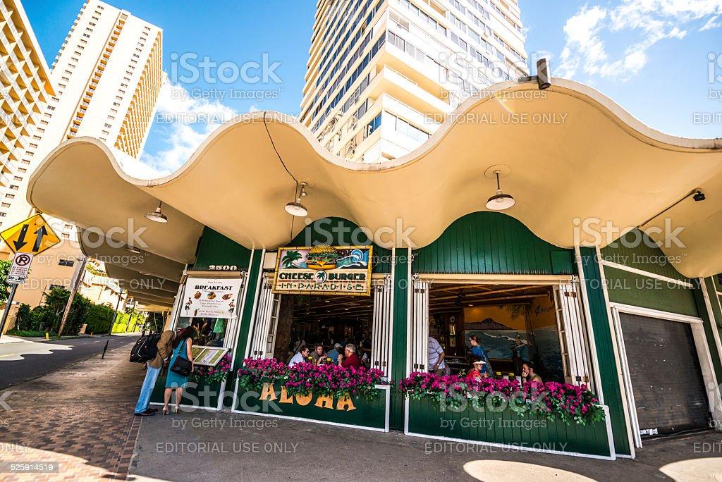Cheeseburgers in paradise, restaurant, Waikiki beach stock photo
