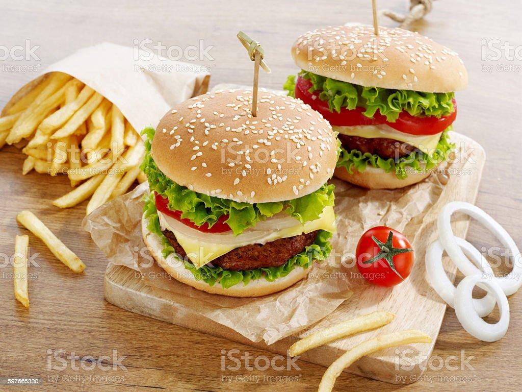 Cheeseburgers stock photo