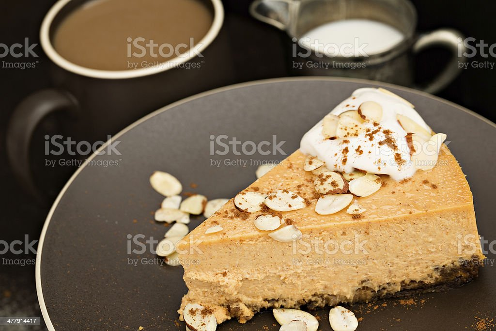 Cheesecake And A Cup Of Coffee stock photo