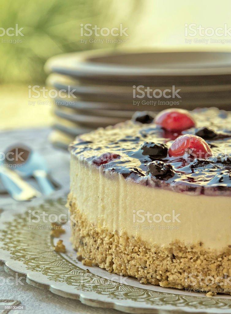 Cheesecake and dishware stock photo