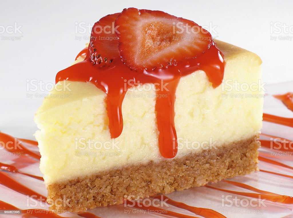 Cheesecake and Strawberry Sauce royalty-free stock photo
