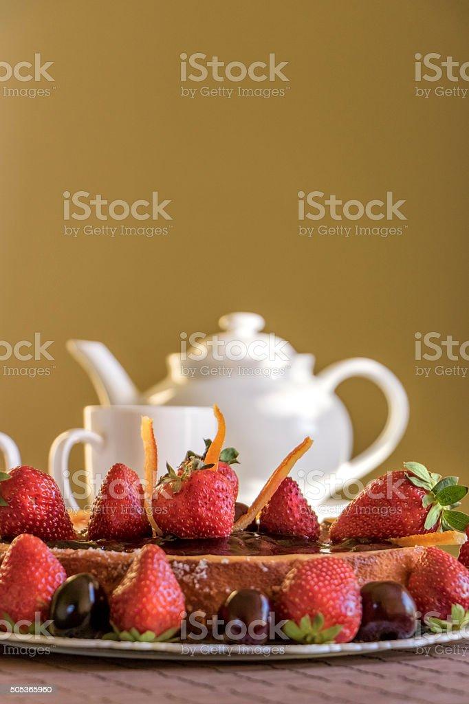 Cheesecake and tea stock photo