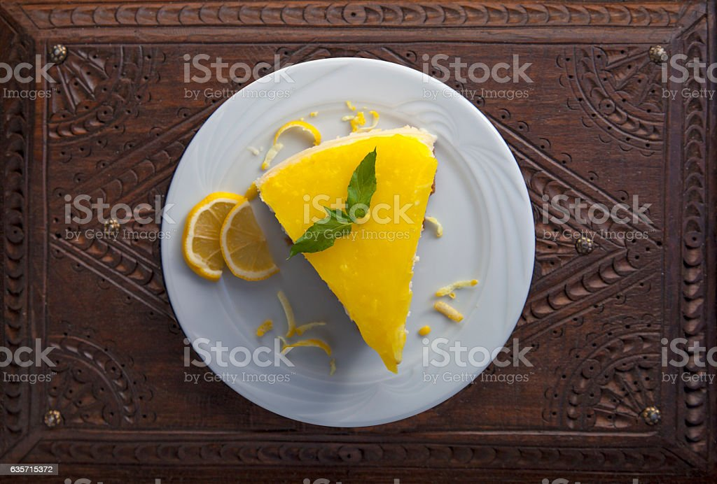 cheesecake on a antique wooden display stock photo