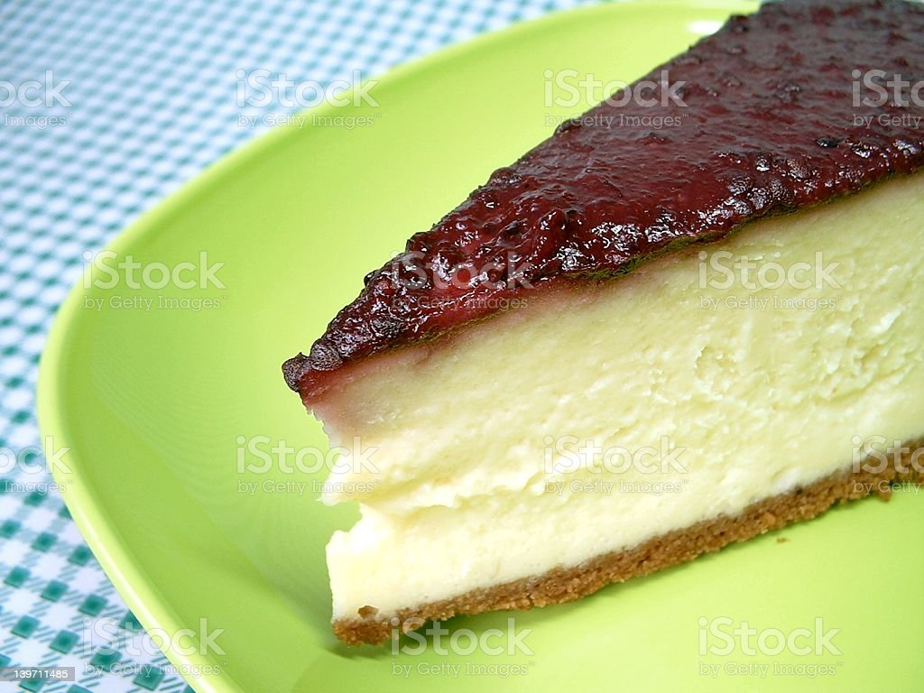cheesecake on green plate royalty-free stock photo