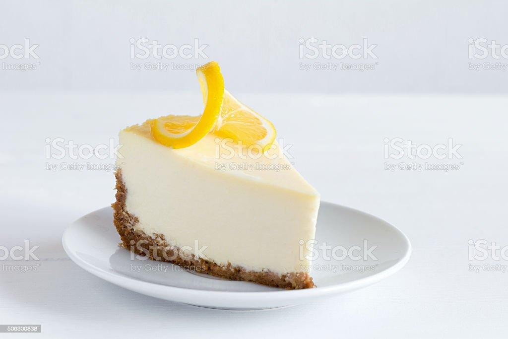 Cheesecake on white plate stock photo