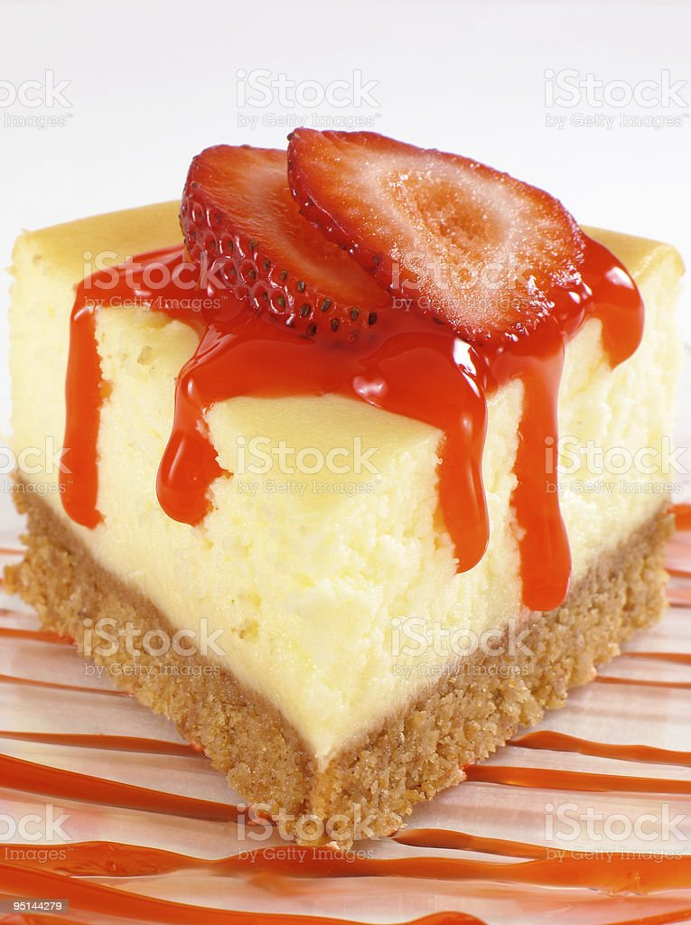 Cheesecake & Strawberry Sauce royalty-free stock photo