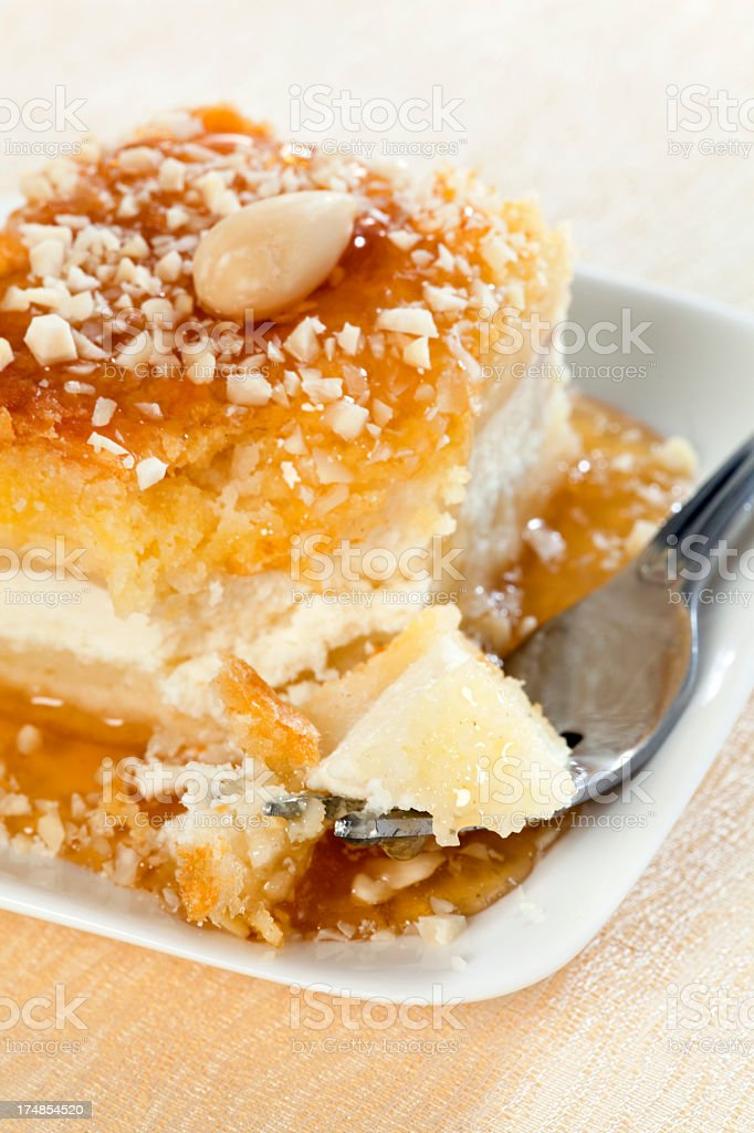 Cheesecake with almonds and honey royalty-free stock photo