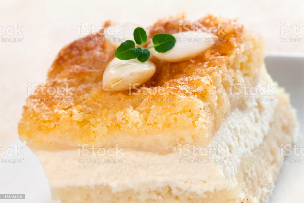 Cheesecake with almonds royalty-free stock photo