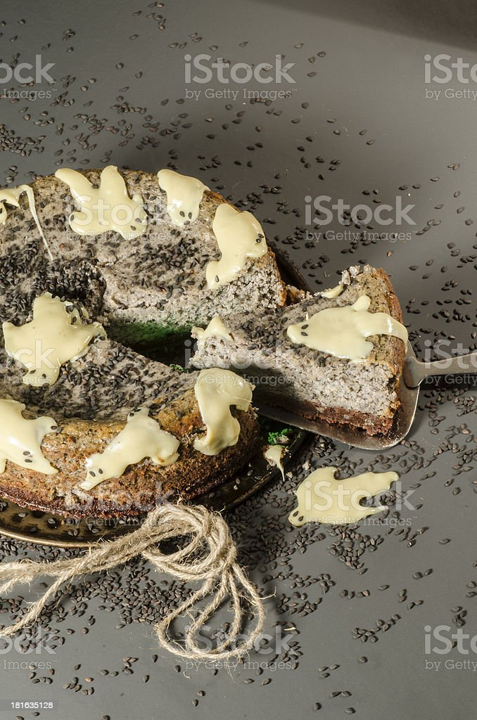 Cheesecake with black sesame seeds on Halloween royalty-free stock photo