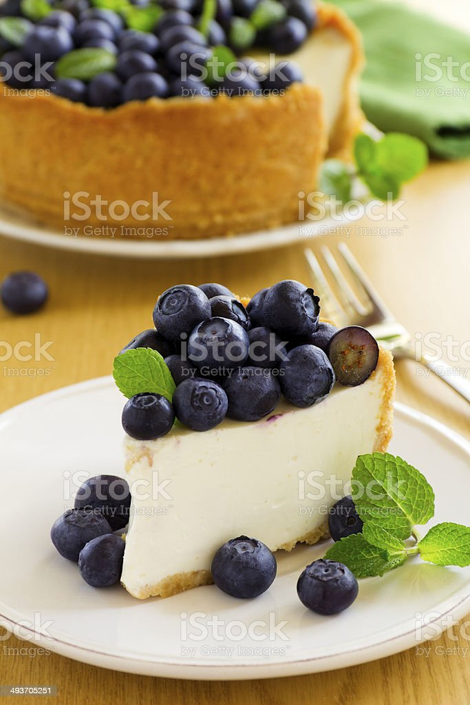 Cheesecake with blueberries. stock photo