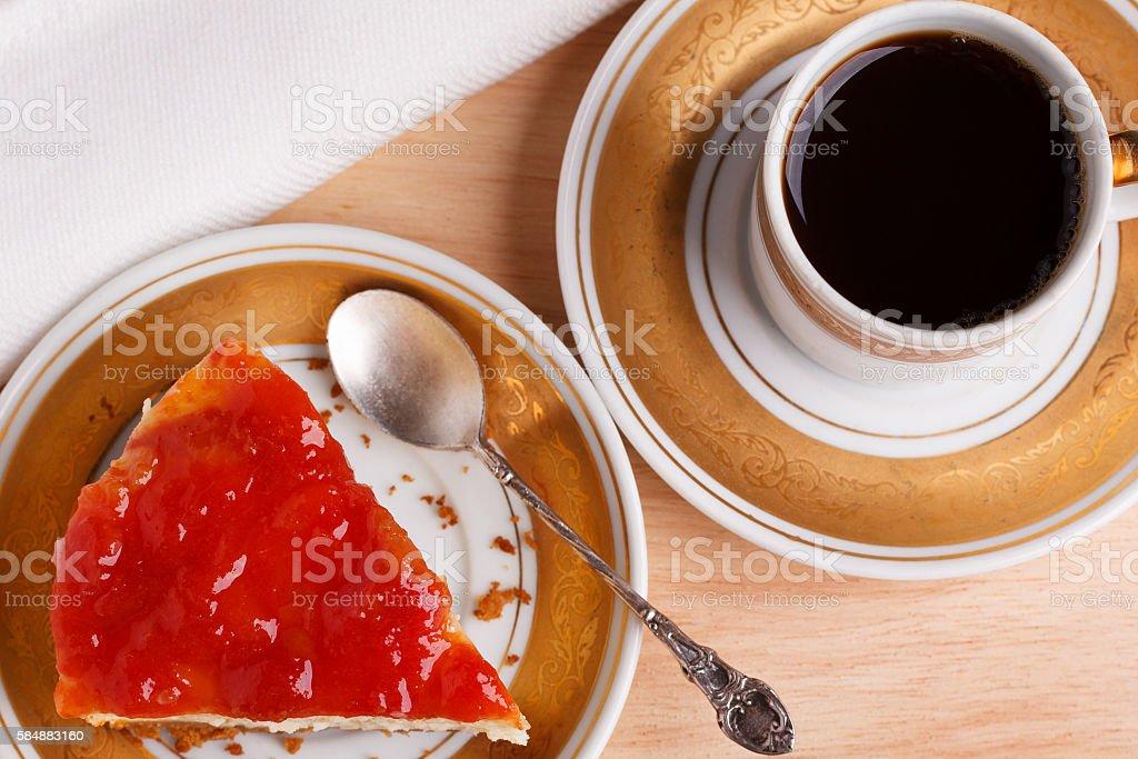 Cheesecake with brazilian goiabada jam of guava stock photo