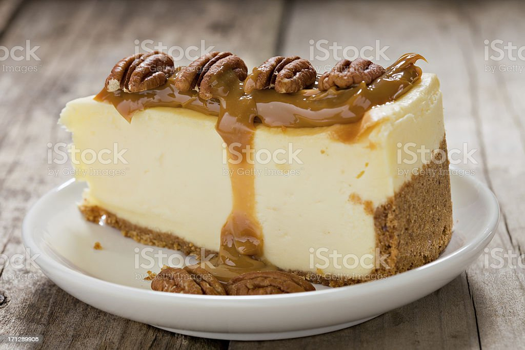 Cheesecake with Caramel And Pecans. stock photo