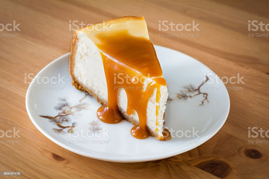 Cheesecake with caramel suace stock photo