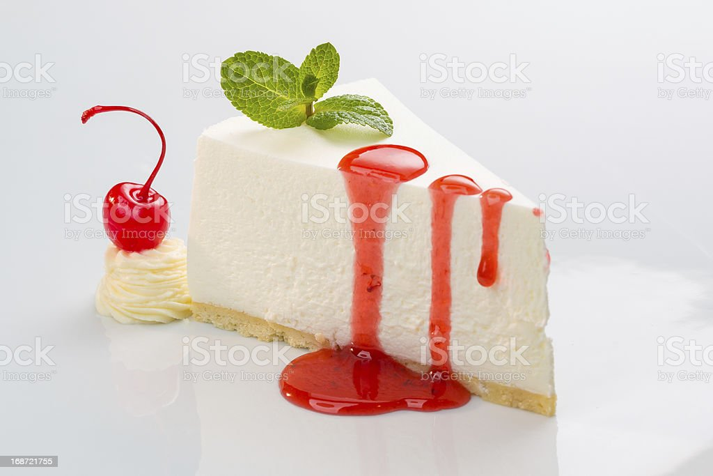 cheesecake with cherry syrup stock photo