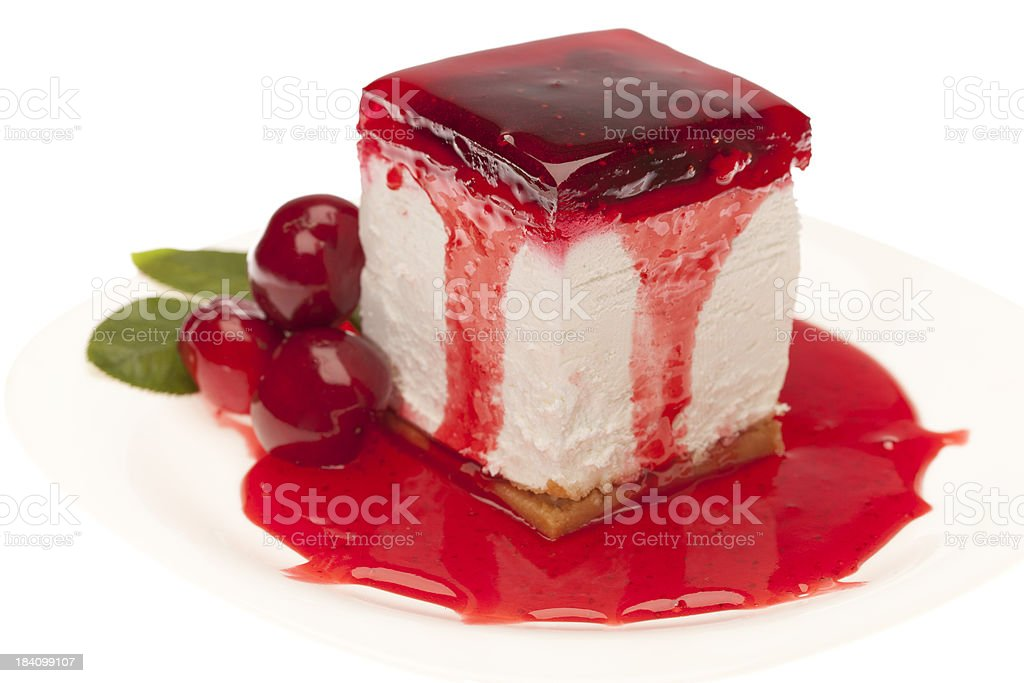 Cheesecake with cherry topping stock photo