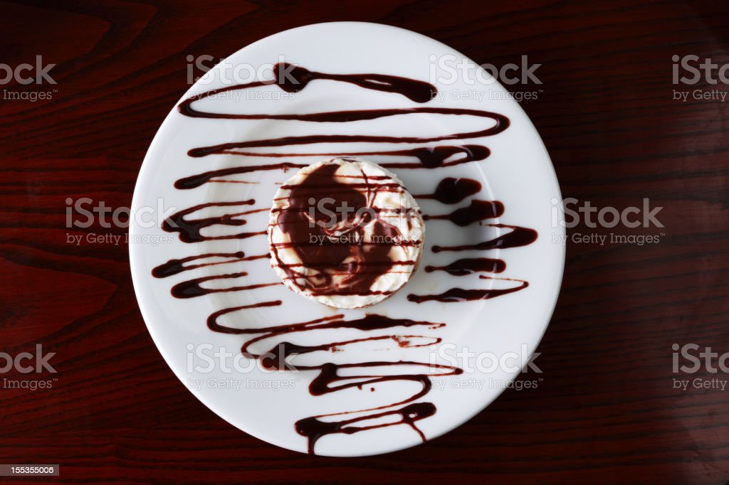 Cheesecake with Chocolate topping stock photo