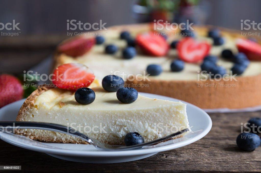 Cheesecake with fresh berries stock photo