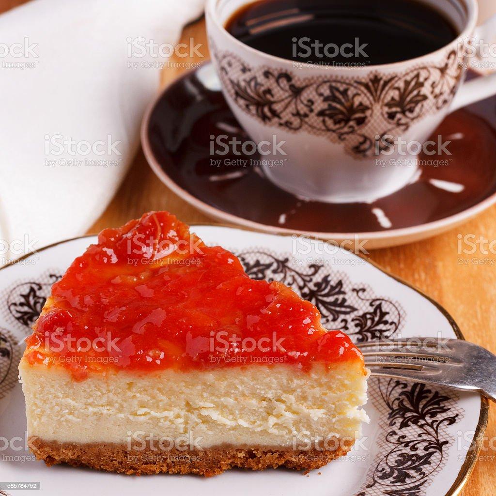 Cheesecake with goiabada jam, cup of coffee stock photo