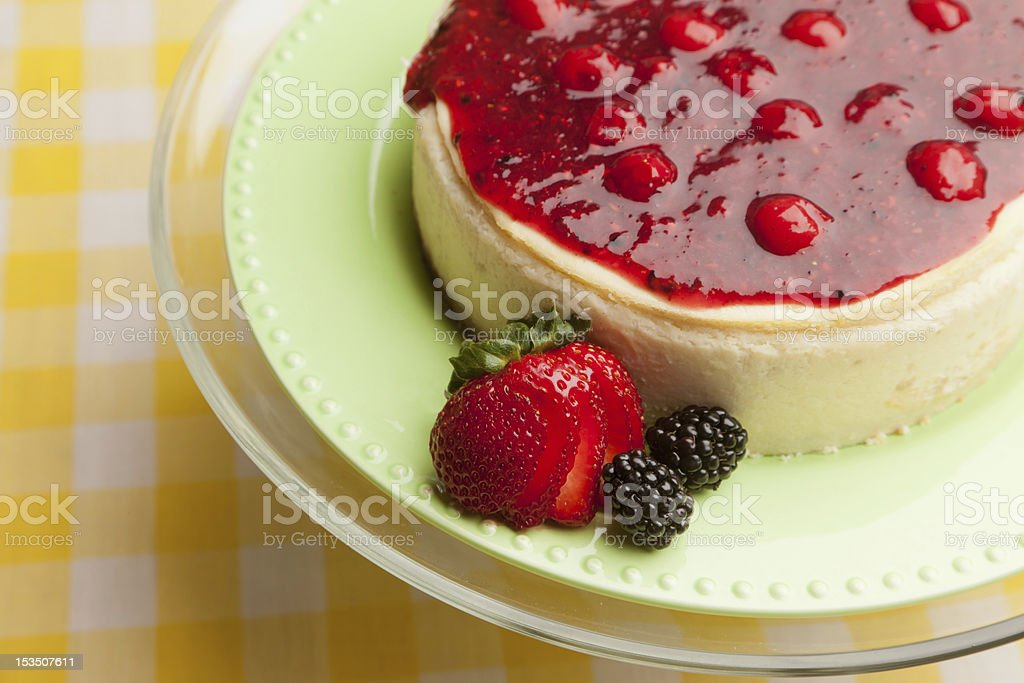 Cheesecake with Mixed Berry Compote royalty-free stock photo
