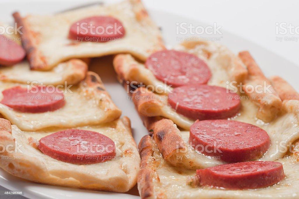 Cheesed sausage Turkish pizzas stock photo