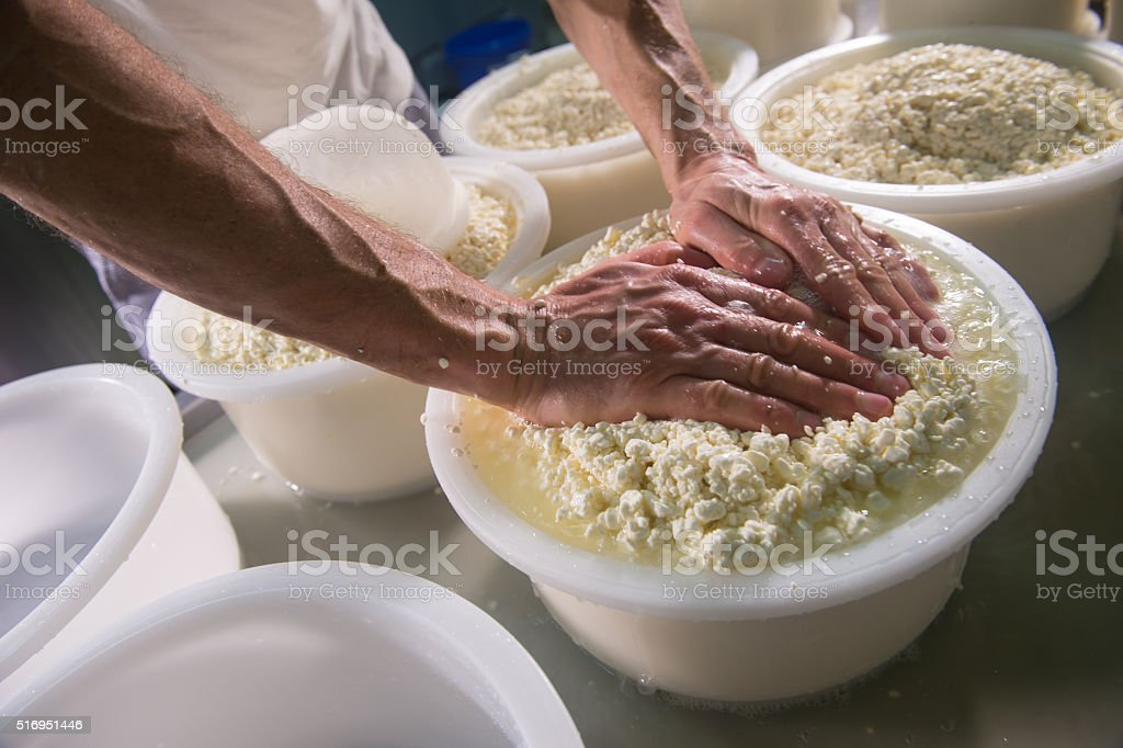 Cheesemaker boiling milk into the mixing pot for making cheese stock photo