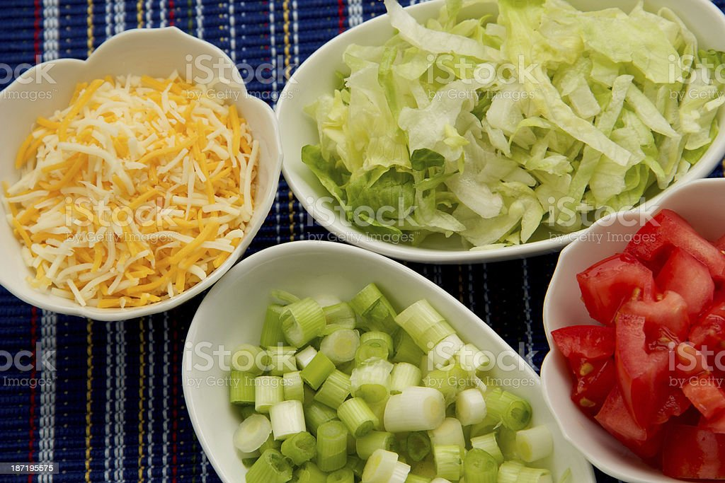 Cheese,Onion,Lettuce and Tomato stock photo