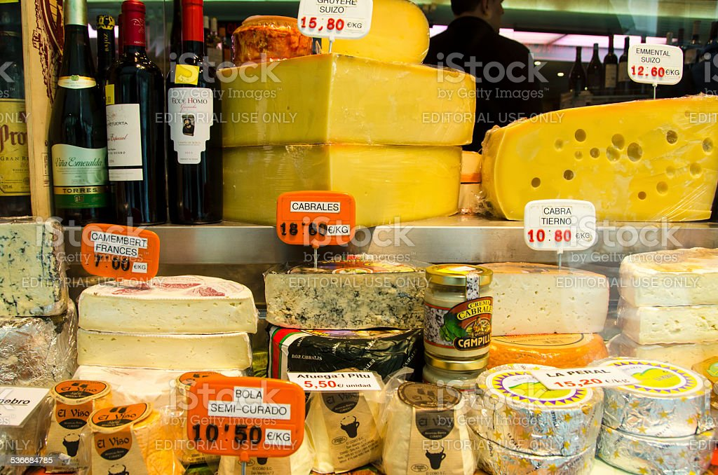 Cheeses and Wines stock photo
