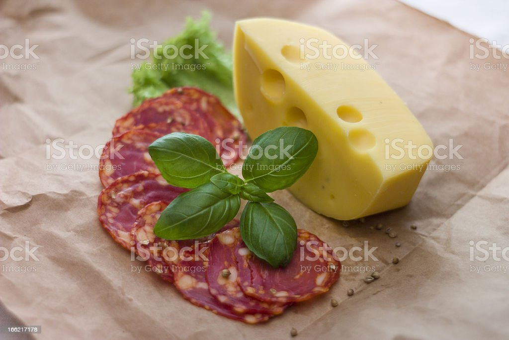 cheeses with salami royalty-free stock photo
