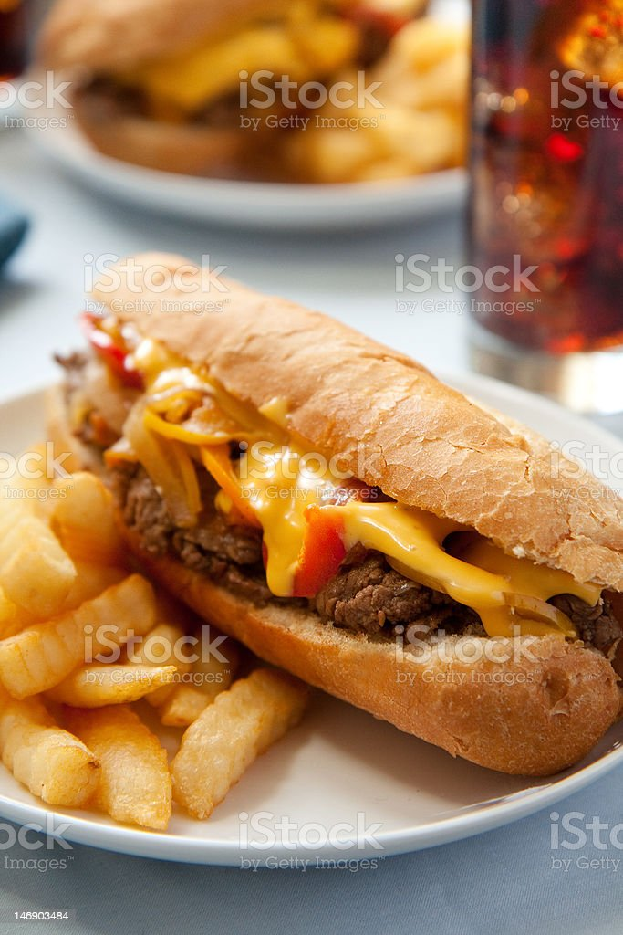 Cheesesteak sandwich royalty-free stock photo