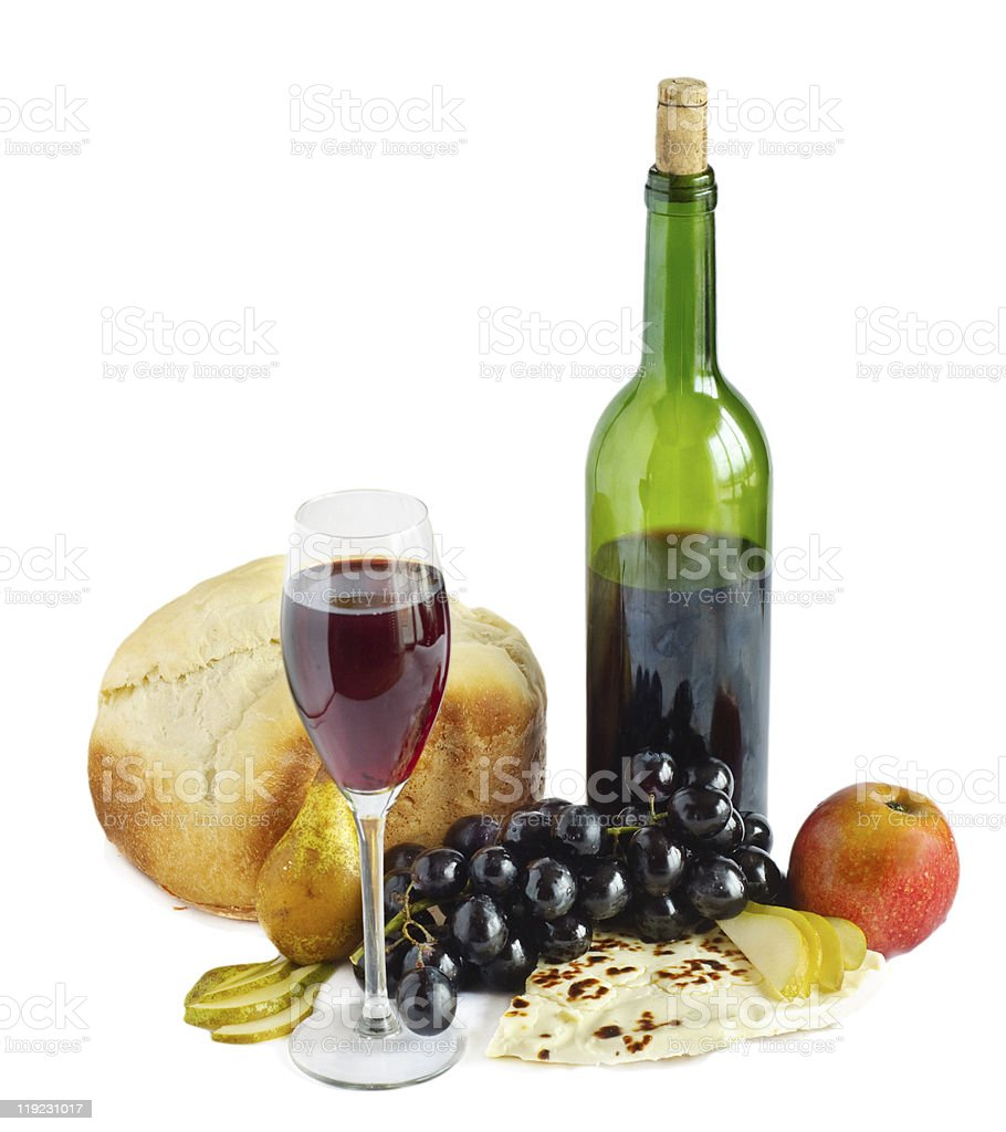 Cheese,wine and bread isolated royalty-free stock photo