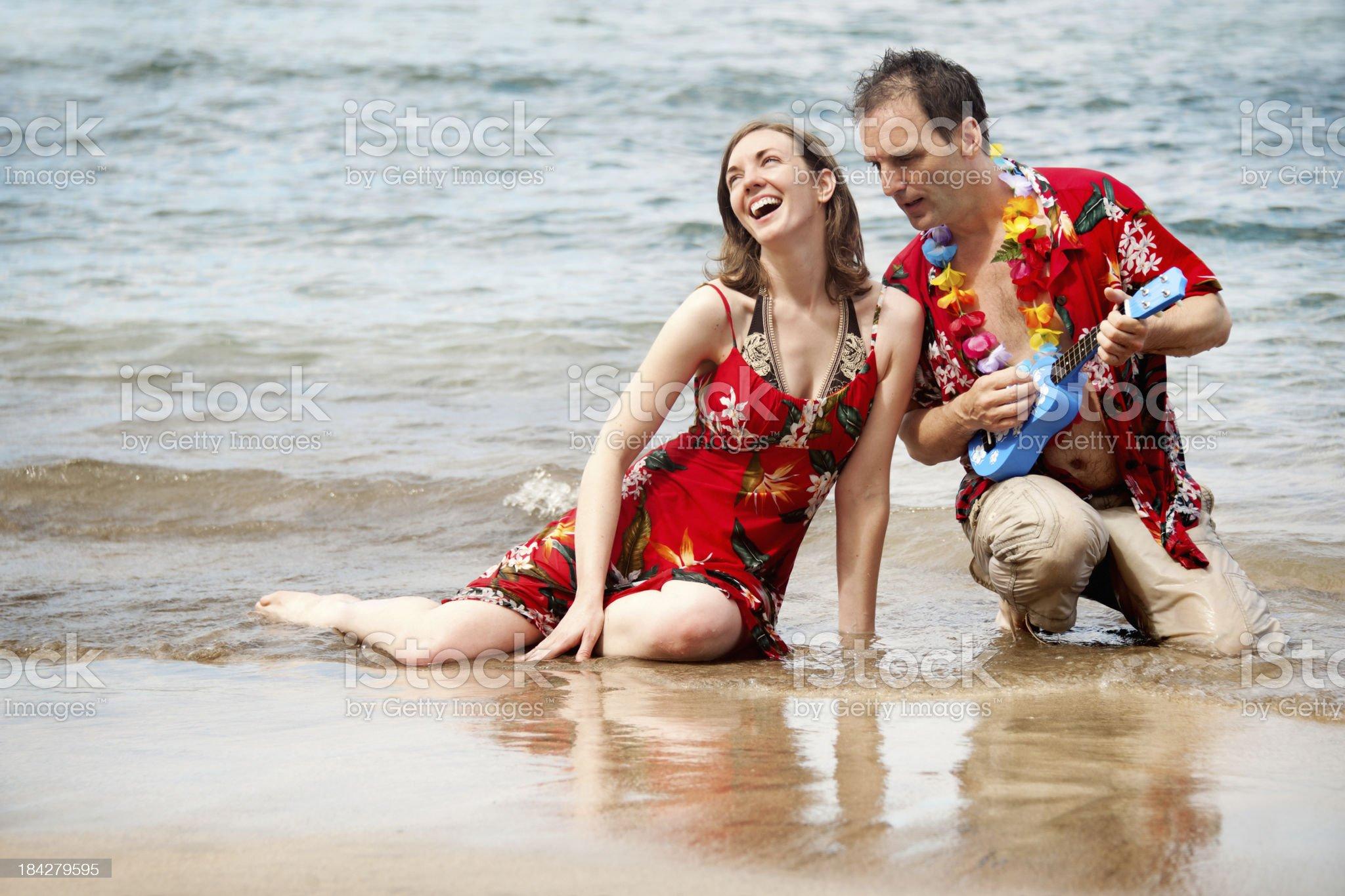 Cheesy couple in Hawai royalty-free stock photo