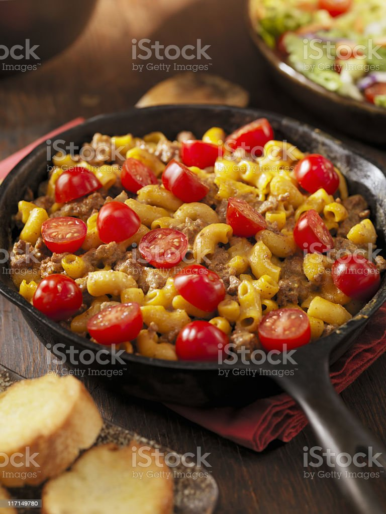 Cheesy Hamburger and Macaroni Dinner royalty-free stock photo