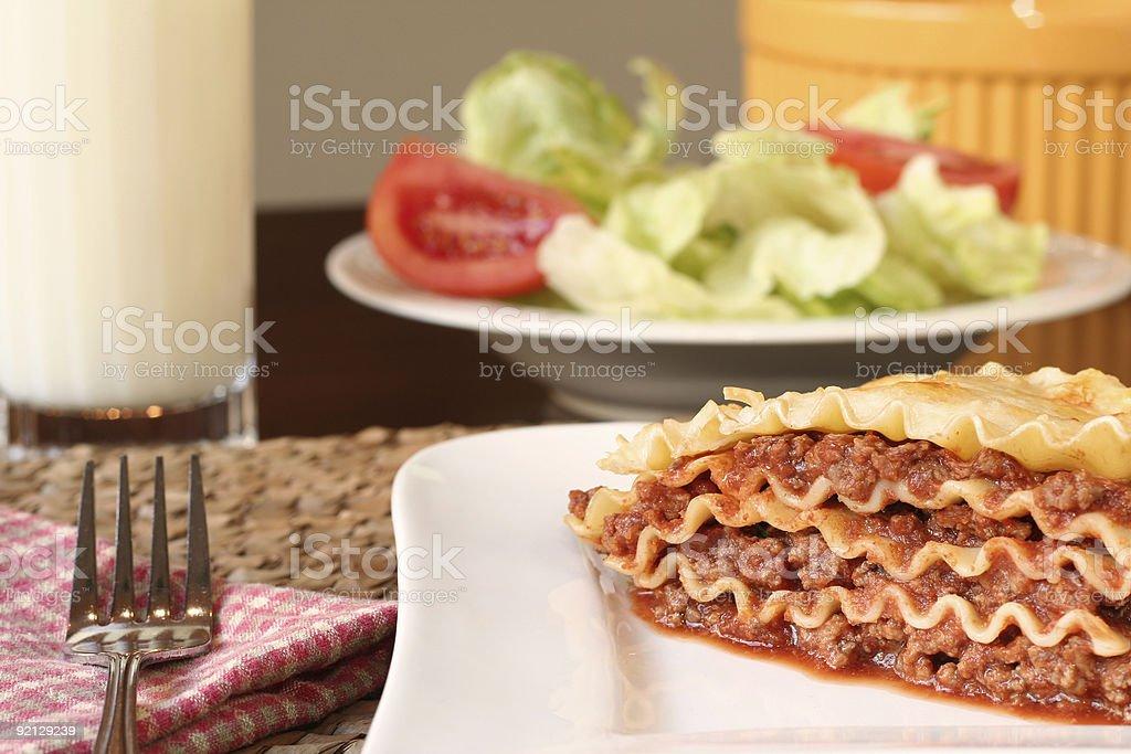 Cheesy lasagna royalty-free stock photo