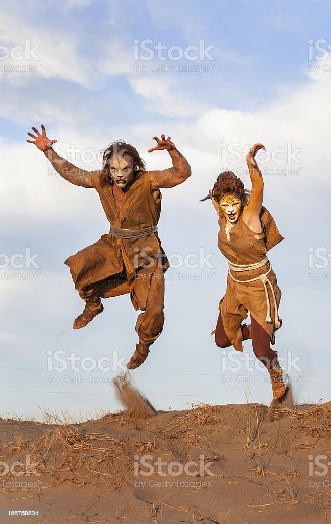 Cheetah and Lion People stock photo