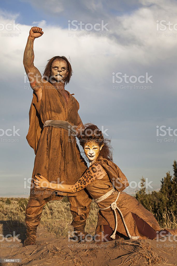 Cheetah and Lion People royalty-free stock photo