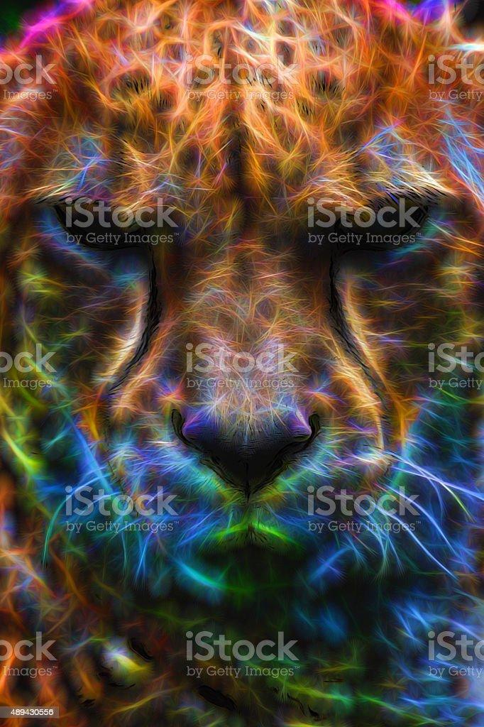 Cheetah Neon Portrait stock photo