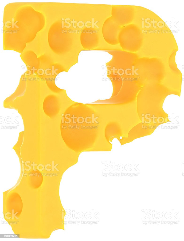 Cheeze font P letter isolated on white royalty-free stock photo