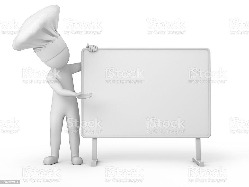 Chef, 3d human and billboard stock photo