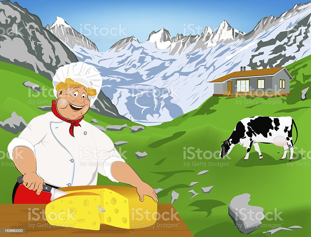 Chef and Natural swiss dairy cheese royalty-free stock photo