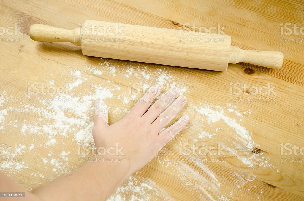 Chef baking with rolling pin stock photo