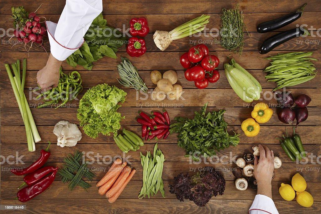 Chef Choosing Healthy Vegetables stock photo