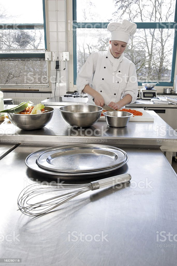 chef chopping vegetables royalty-free stock photo