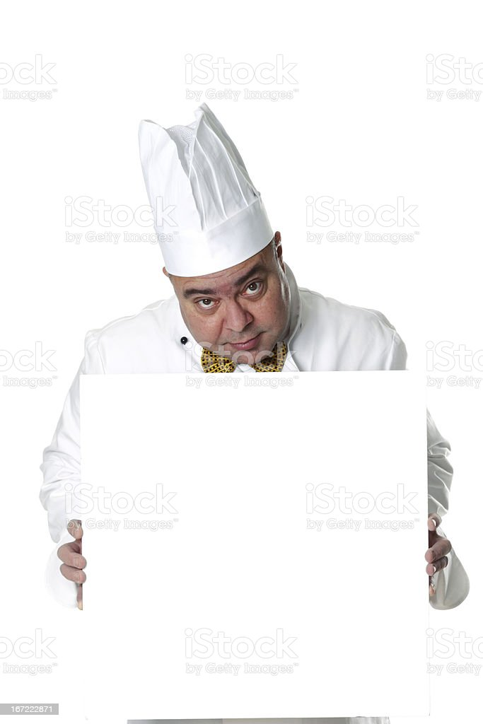 Chef Cook Holding Blank Sign stock photo